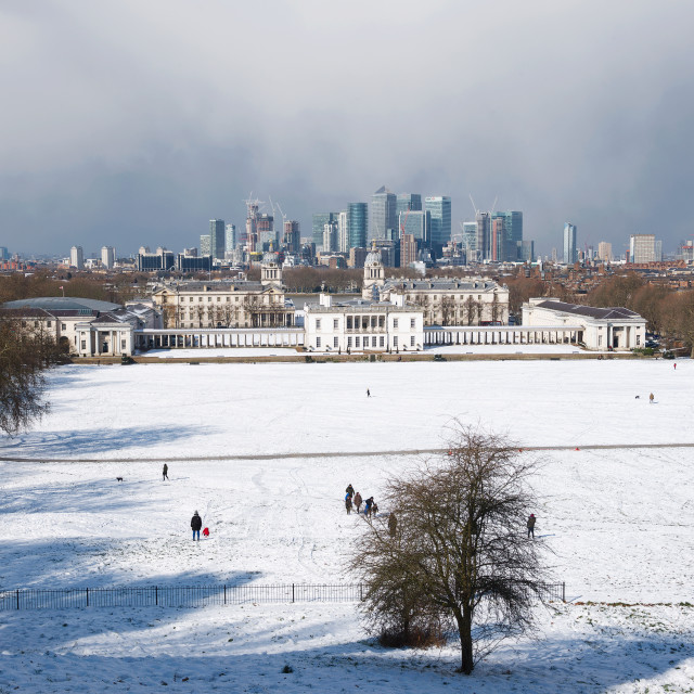 """""""Greenwich Park and Canary Wharf in the snow"""" stock image"""