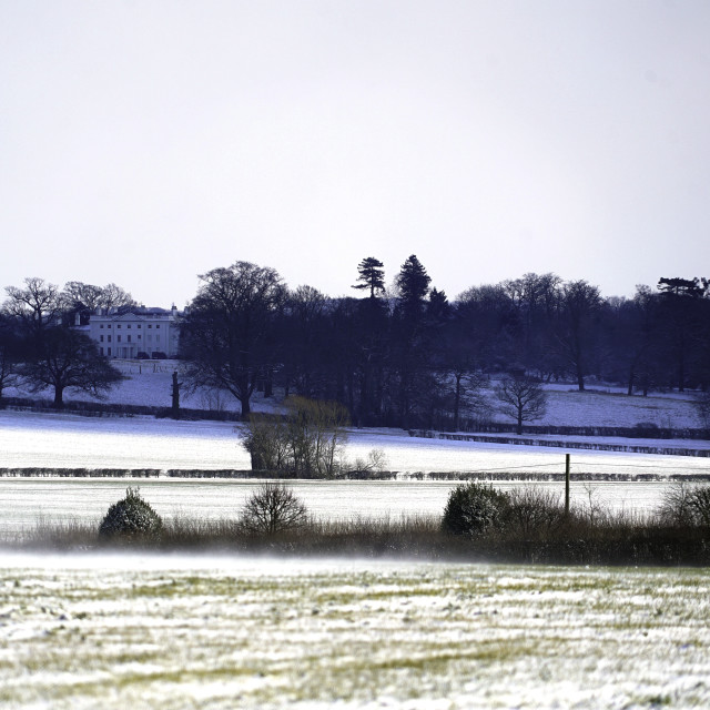 """Essex Countryside Snow and Blake Hall"" stock image"