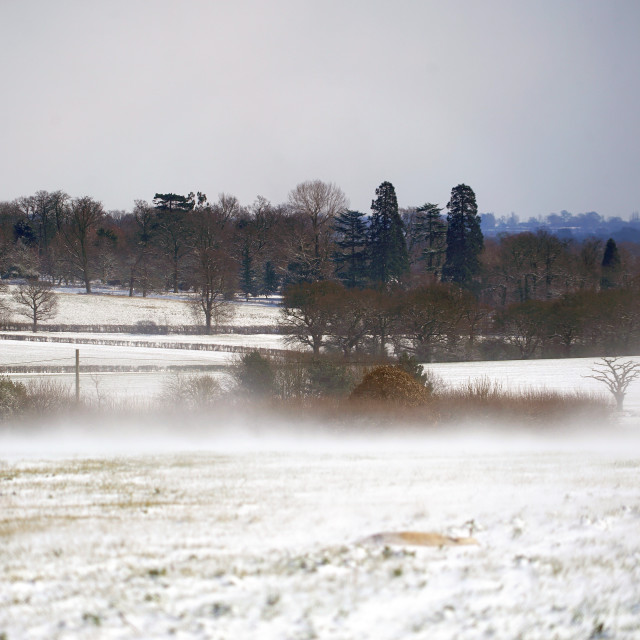 """""""Snow drifts across the fields of Essex"""" stock image"""