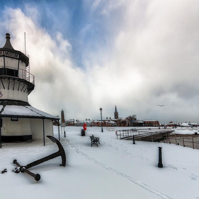 """Snowy Harwich Light Museum"" stock image"