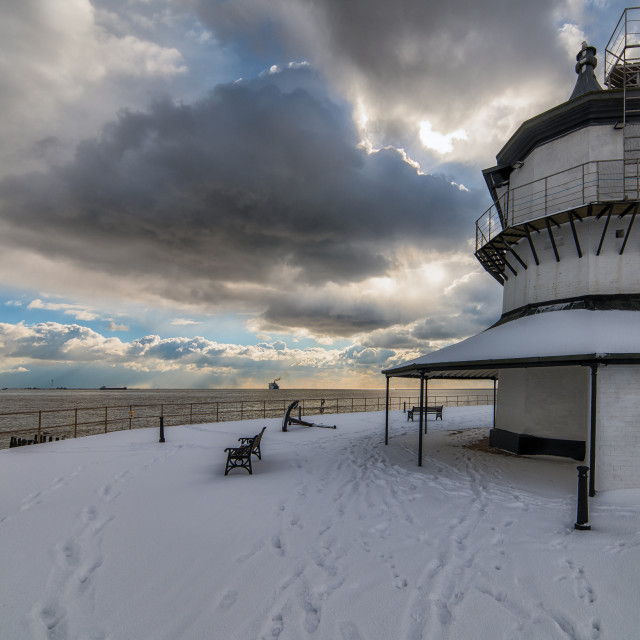 """""""Harwich Snow Look Out"""" stock image"""