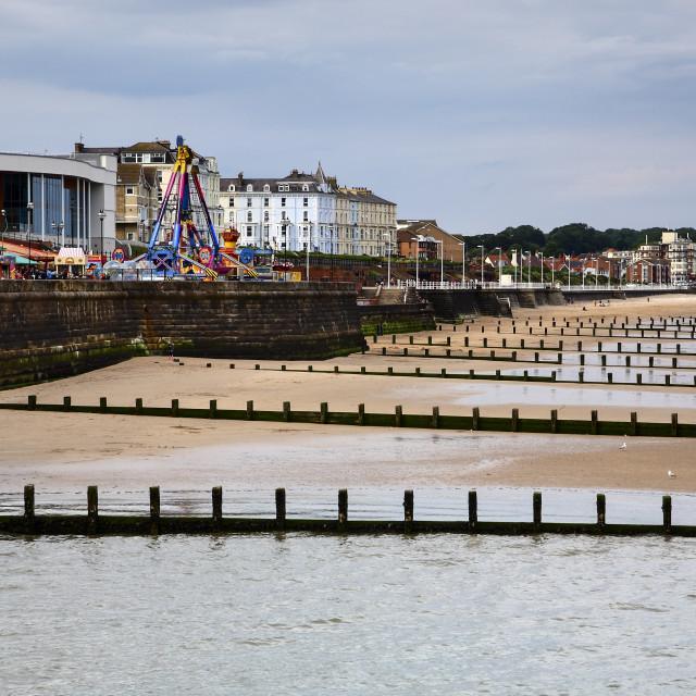 """View northwards of Bridlington bay and amusements"" stock image"