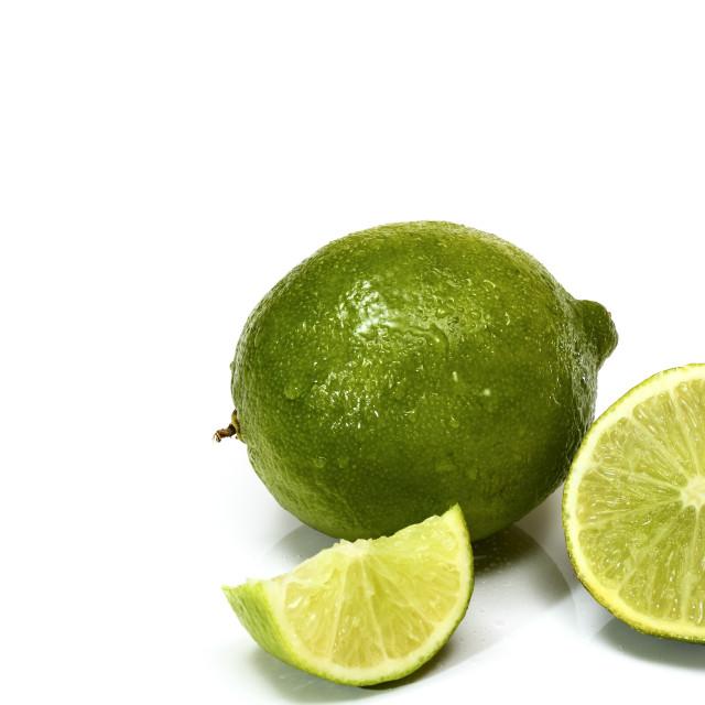 """Studio shot image of juicy organic ripe limes"" stock image"