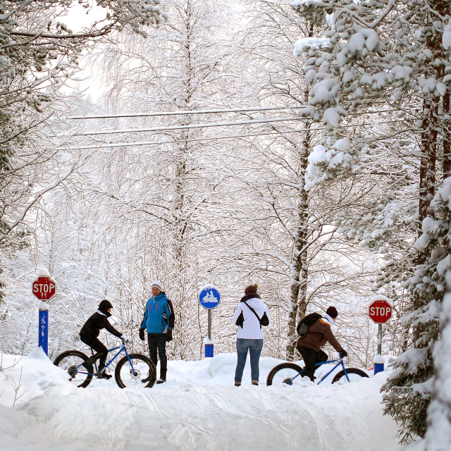 """People and cyclists in the snow"" stock image"