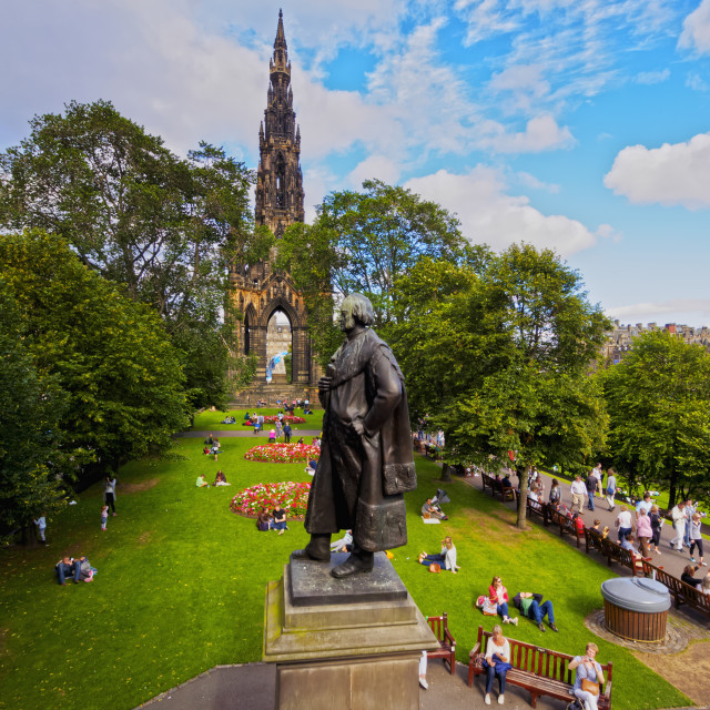 """UK, Scotland, Lothian, Edinburgh, Princes Street Gardens, View of The Scott..."" stock image"