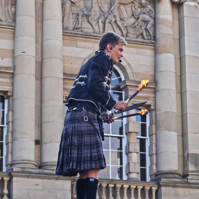 """UK, Scotland, Lothian, Edinburgh, Old Town, Fringe Festival on The Royal Mile."" stock image"
