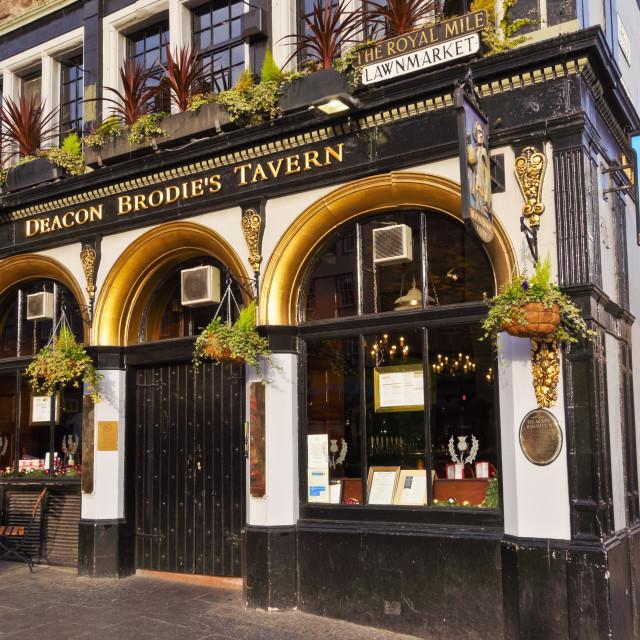 """UK, Scotland, Edinburgh, The Royal Mile, View of the Deacon Brodie's Tavern."" stock image"