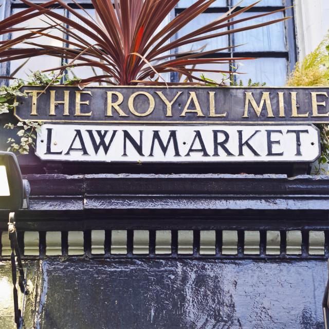"""UK, Scotland, Edinburgh, The Royal Mile Sign."" stock image"