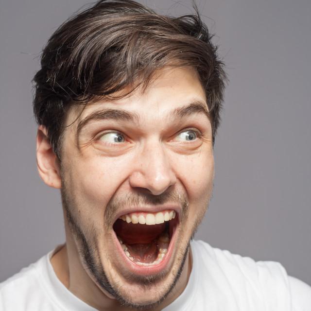 """""""Shocked amazed terrified portrait."""" stock image"""