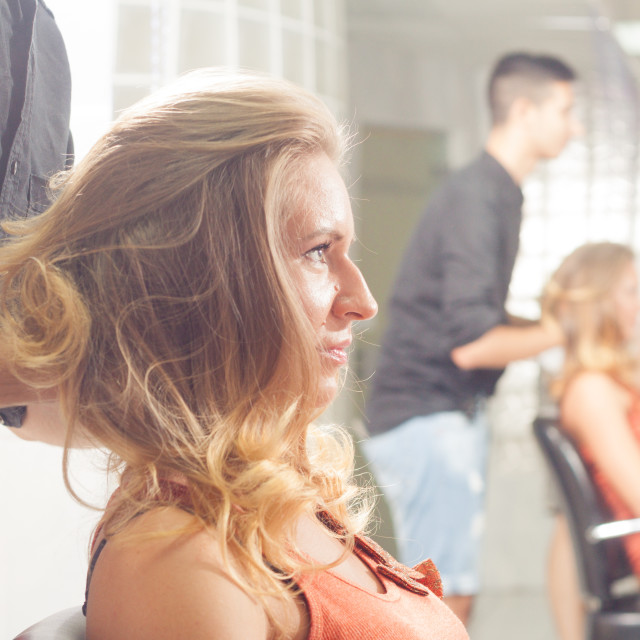 """""""woman hairstyle hairdresser hairstylist salon close up head face"""" stock image"""