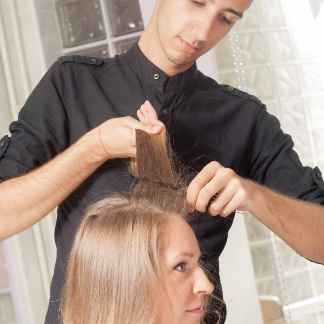 """""""Young hairstylist combing woman hair close up"""" stock image"""
