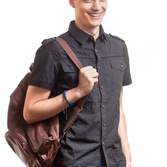 """""""Young student posing with leather bag."""" stock image"""