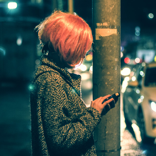 """""""Texting In Character"""" stock image"""