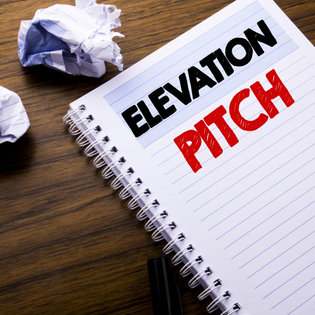 """Writing text showing Elevation Pitch. Business concept for Talking..."" stock image"
