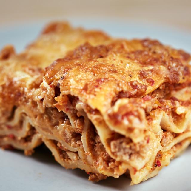 """Crusty lasagna freshly baked"" stock image"