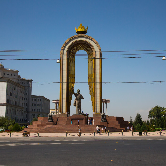 """Statue of ismail samani as memorial, Central Asia, Dushanbe, Tajikistan"" stock image"