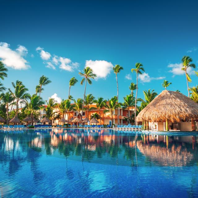 """Tropical swimming pool in luxury resort, Punta Cana"" stock image"