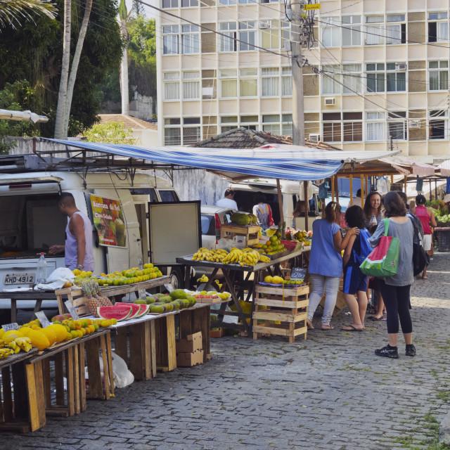 """Brazil, City of Rio de Janeiro, Santa Teresa, Weekly Fresh Food Market on Rua..."" stock image"
