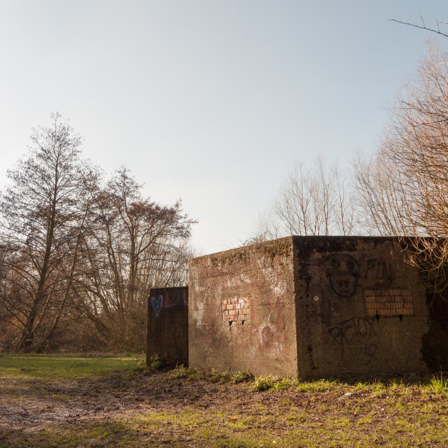 """old war bunker marked graffiti no people old retro abandoned damage park public"" stock image"