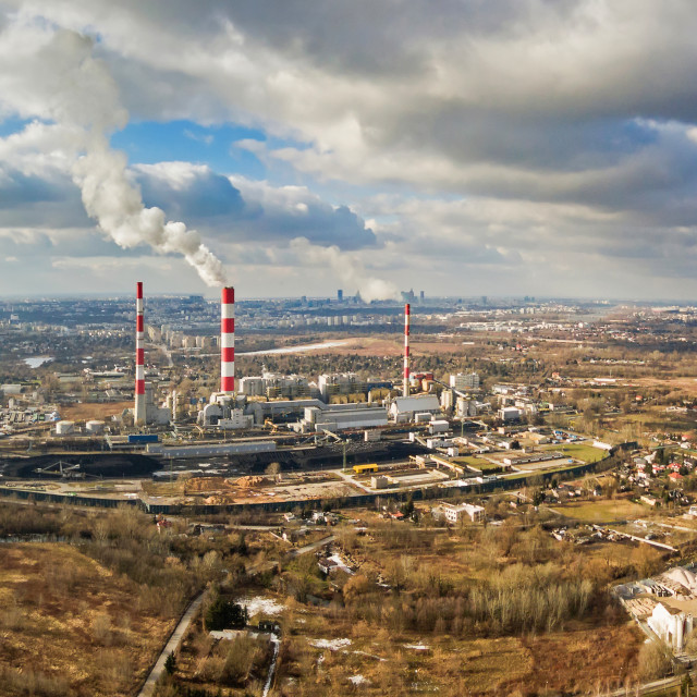 """Aerial view of power plant under cloudy sky, Warsaw"" stock image"