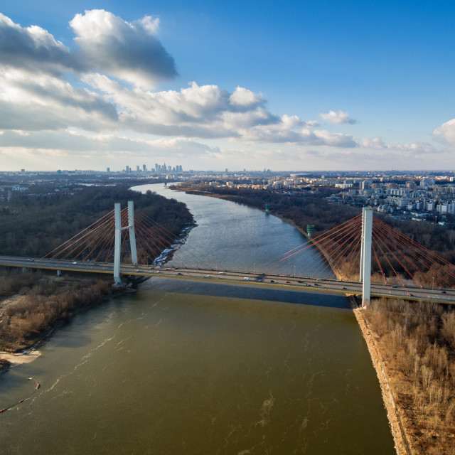 """Aerial view of Vistula river, Siekierowski bridge and Warsaw city center"" stock image"