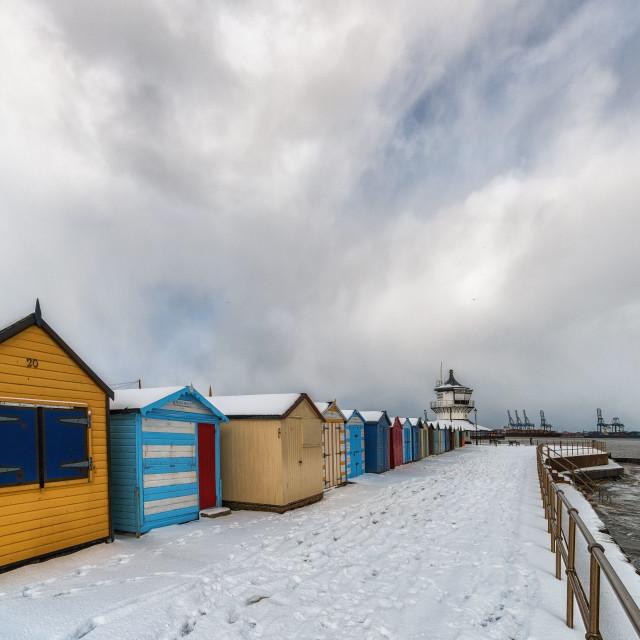 """Promenade Snow Towards Harwich Lighthouse"" stock image"