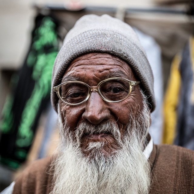"""""""Indian senior portrait in the street of India"""" stock image"""