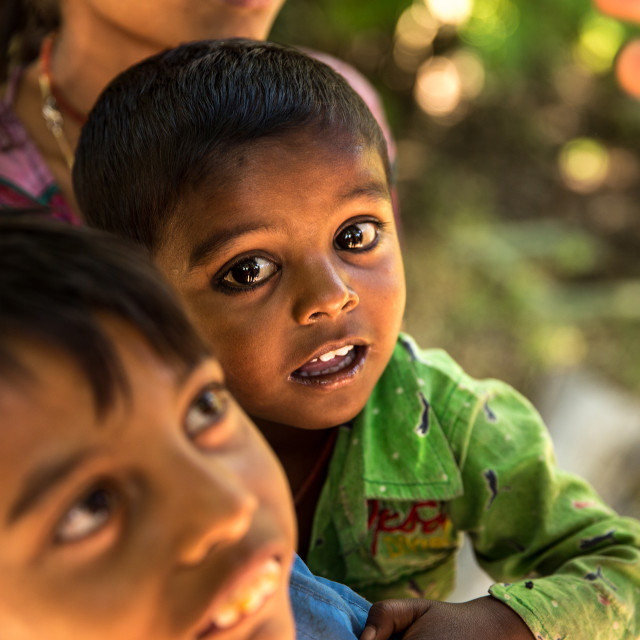 """""""Siblings in a small village smiling in India"""" stock image"""