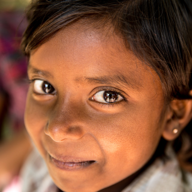"""""""Little girl from a small village smiling in India"""" stock image"""