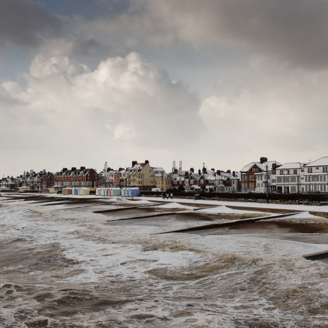 """Snow on Felixstowe prom, Suffolk, England"" stock image"