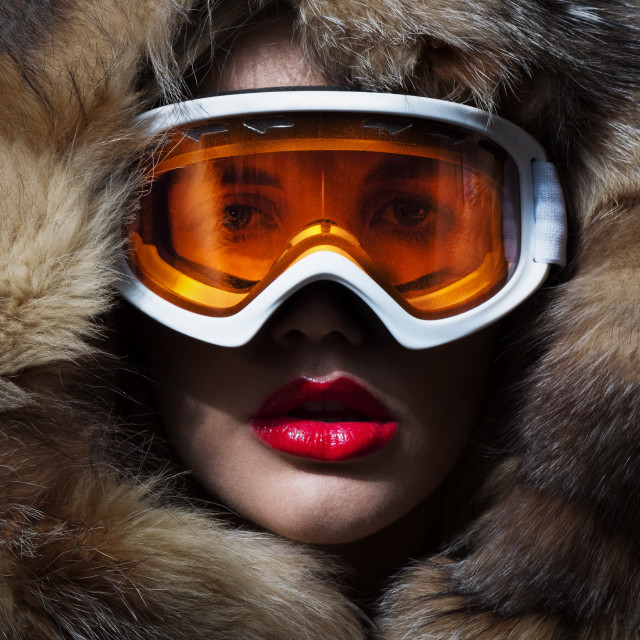 """woman in fur and skimask"" stock image"