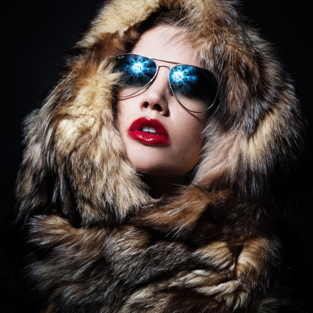 """woman in fur wrap"" stock image"