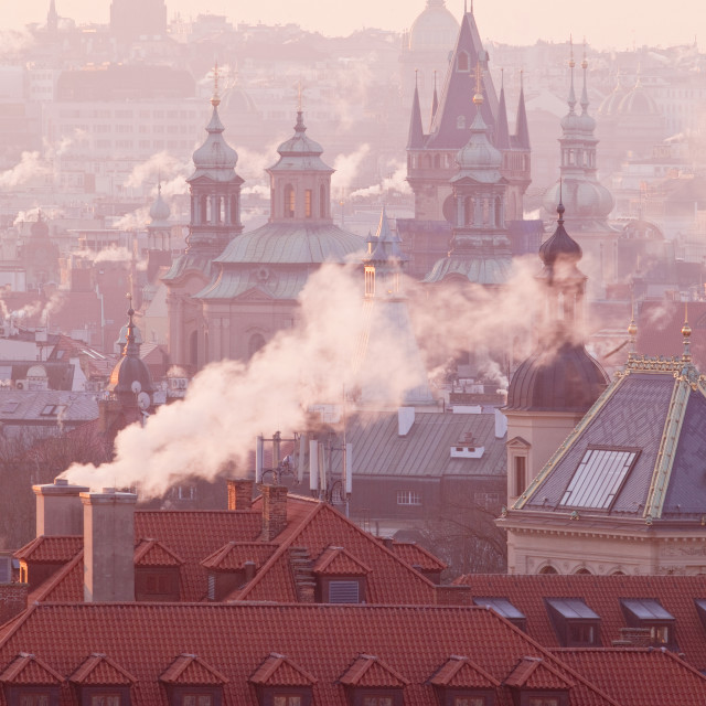 """""""Prague - Spires of the Old Town on Cold Winter Morning"""" stock image"""