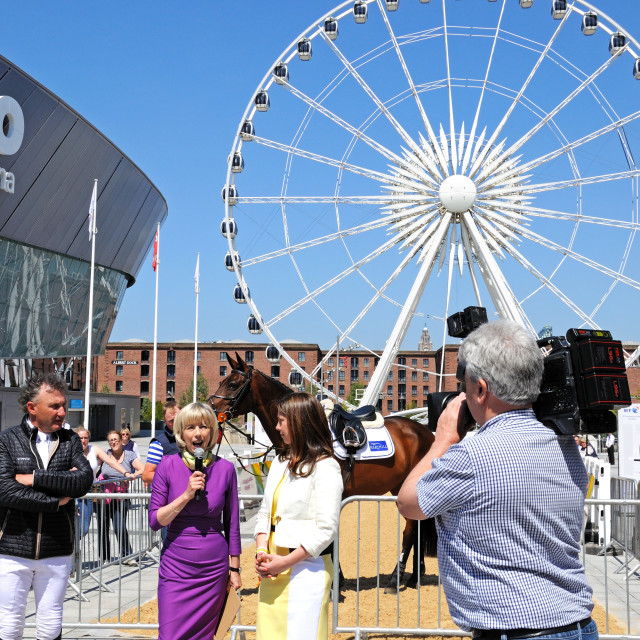 """TV presenter outside the Liverpool Echo Arena"" stock image"