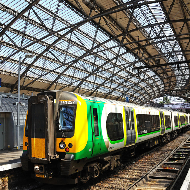 """""""London Midland Class 350 train in Liverpool"""" stock image"""