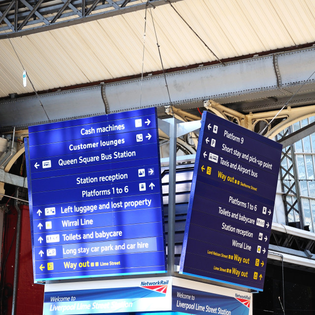 """""""Information signs inside Liverpool Lime Street Railway Station"""" stock image"""
