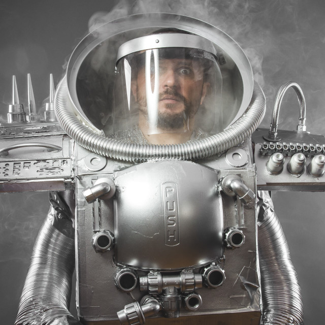 """""""Galaxy astronaut, space man's costume made with cardboard and pieces of..."""" stock image"""
