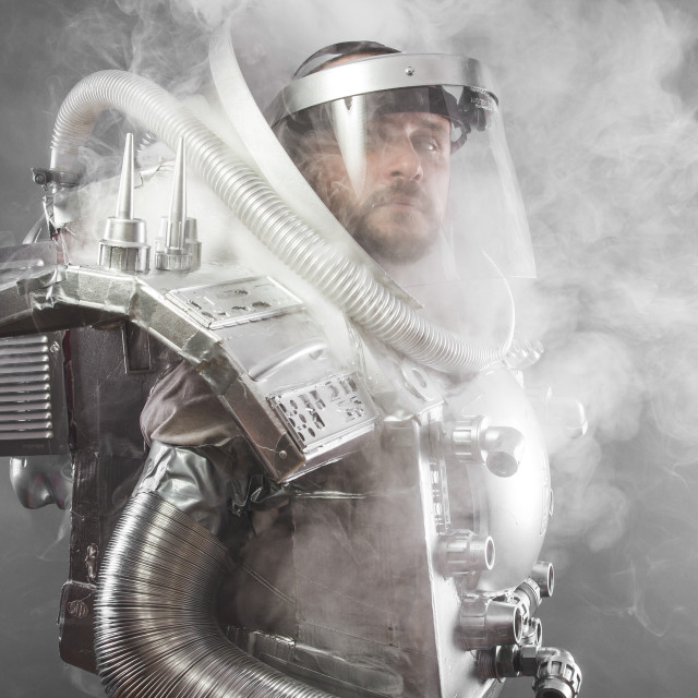 """""""Science astronaut, space man's costume made with cardboard and pieces of..."""" stock image"""