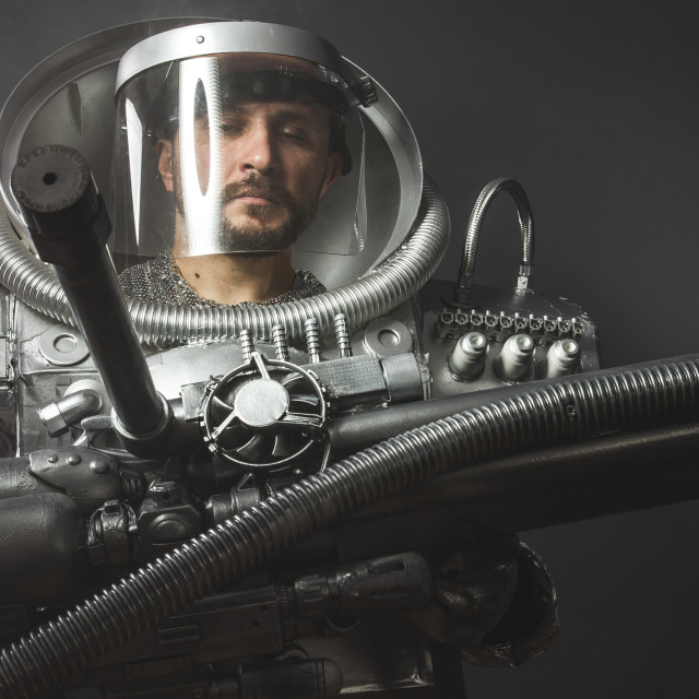 """""""Gravity astronaut, space man's costume made with cardboard and pieces of..."""" stock image"""