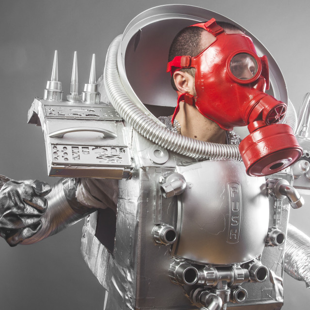 """""""Cosmos astronaut, space man's costume made with cardboard and pieces of..."""" stock image"""