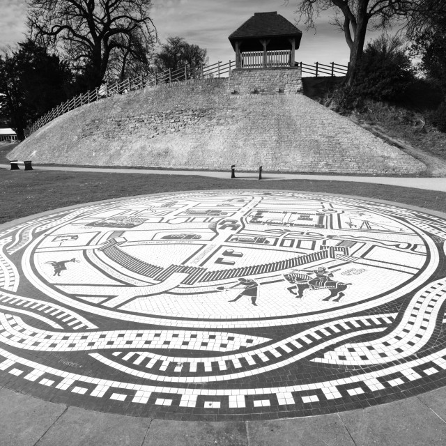 """""""Medieval Mosaic Map near Castle Mound, Bedford town, Bedfordshire, England, UK"""" stock image"""