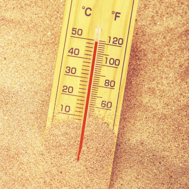 """""""Thermometer in sand"""" stock image"""