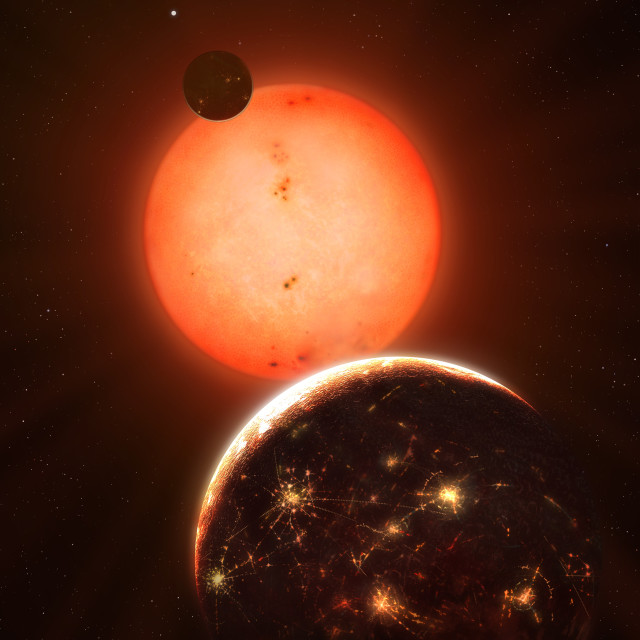 """""""Technological Planet of a Red Dwarf"""" stock image"""