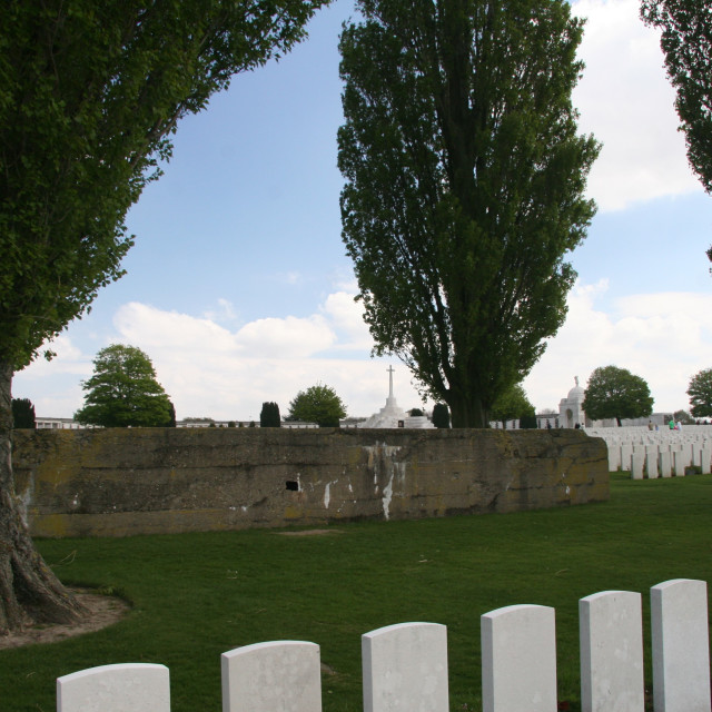 """German Bunker at Tyne Cot Cemetery"" stock image"