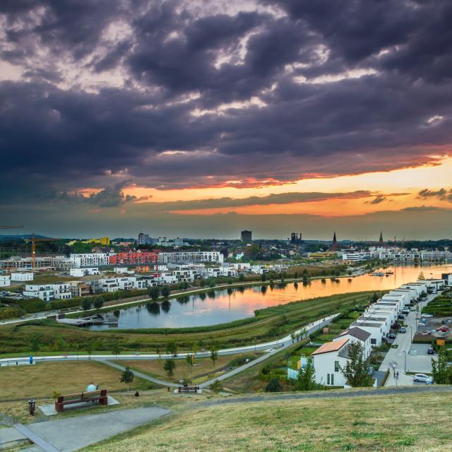 """Dark clouds over Phoenix sea Dortmund"" stock image"