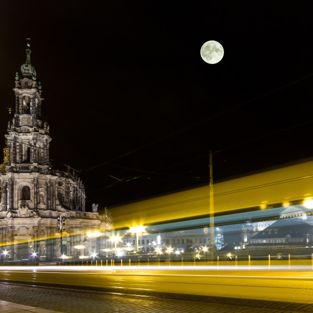 """Dresden Cathedral & yellow tram"" stock image"