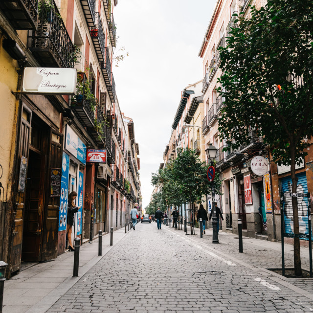 """Street scene in Malasañ district in Madrid"" stock image"