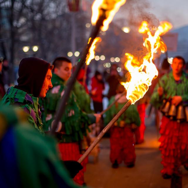 """Enjoying the magic of fire of the ritual torch"" stock image"