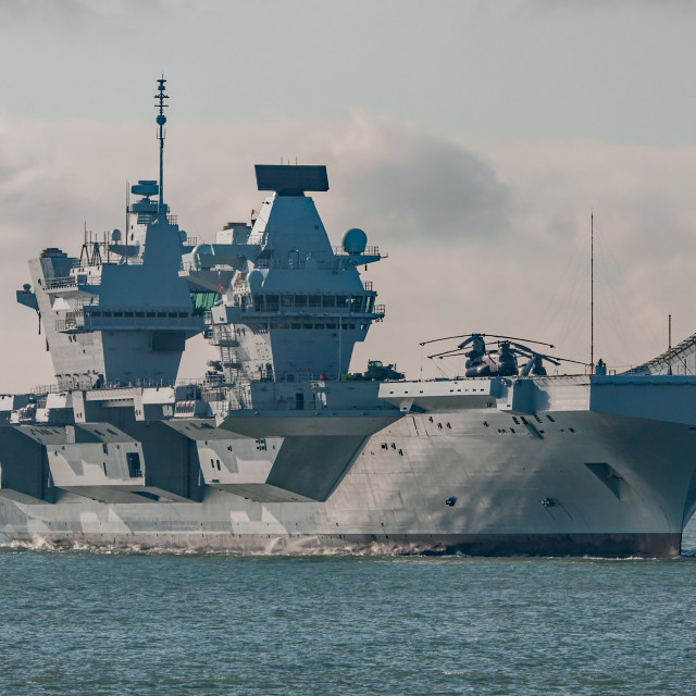 """Royal Navy Aircraft Carrier, HMS Queen Elizabeth"" stock image"