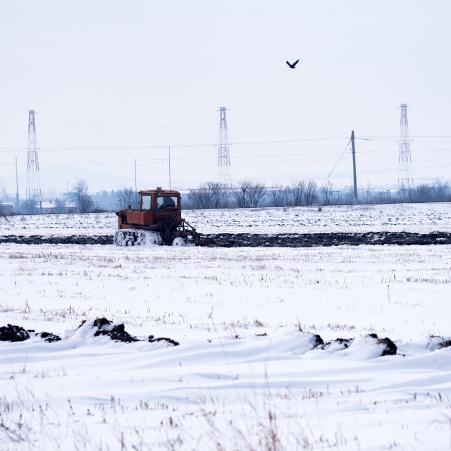 """""""Crawler Tractor plowing field."""" stock image"""